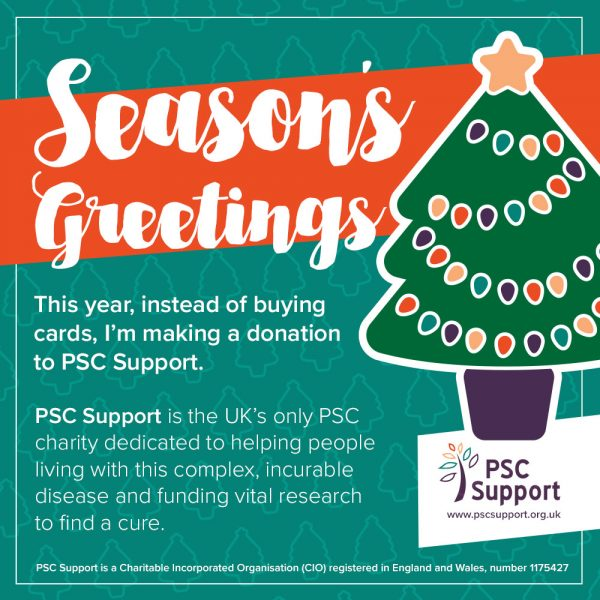 Image of greetings card saying Seasons Greetings with a tree and note about donation