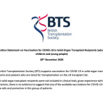 BTS statement about COVID vaccines and people who have had transplants